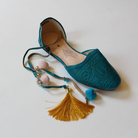 Boho leather flats women/teal leather flats/greek shoes/pom pom leather ballet flats