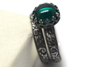 engraved renaissance emerald wedding set custom oxidized silver engagement ring lab emerald jewelry - Emerald Wedding Ring