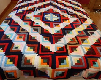 Vintage French Knitted Coverlet in Quilt Pattern