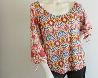 Lucky Brand Ikat Print Peasant Boho Ethnic Hippie Top  Medium