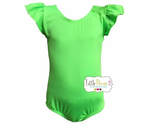 Lime Green Leotard(Child) Flutter/Ruffle Sleeve Leotard-Dance-Ballet-Hip Hop-Gymnastics