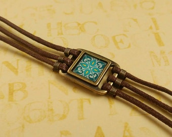Spanish Tile Bracelet, Blue & Turquoise, on Gold-Plated Brass and Brown Waxed Cotton Cord