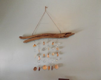 Drift wood, wind chime,Sea Shells, Coastal wind chime, Mobile, Coastal decor. Drift wood and sea shells