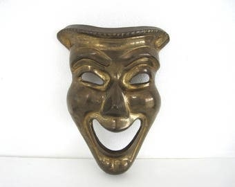 Vintage Brass Comedy Mask Thalia Greek Tragedy Theater Masks Drama Mid Century Wall Art
