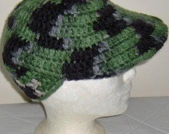 Crochet Hat, Golf Hat, Visor Hat, Crochet Beanie, Adult, Crochet, camouflage Hat, Women, Men, Teen Accessories, head size 22 to 24 around