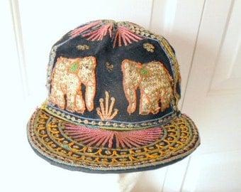 Vintage India elephant applique embroidered Hat