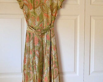 Vintage 50's silky crepe small belted Day Dress