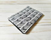 Mens Sleek Wallet - black and grey herringbone - Minimalist Wallet - Pouch - Front Pocket - Card Case - Business Card Holder - Thin - Wallet