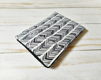 Mens Sleek Wallet - black and grey herringbone - Minimalist Wallet - Pouch - Front Pocket - Card Case - Business Card Holder - Thin - Wallet
