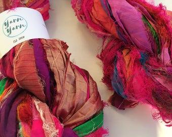 Premium quality sari silk ribbon, Unique eyelash edging, Amazing soft silk, 10 yard mini skein, knitting ribbon, ribbon yarn.