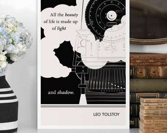 """Large Art Poster, """"Leo Tolstoy"""" Quote Literary Art Prints, Minimalist Illustration, Large Wall Art Quote Prints, Literary Gift"""
