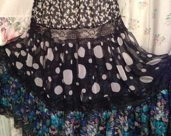 SMALL, Skirt Tiered Hippie Bohemian Flowerchild Boho Long Black White Romantic Skirt