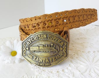 Vintage Atchison Topeka and Santa Fe Railroad BELT BUCKLE and BELT, Womens boho Belt, Vintage Belt Buckle, Vintage Leather Tooled Belt
