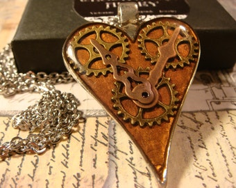 Clockwork Heart with Gears Steampunk Necklace- (2379)