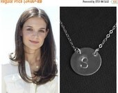 Personalized Necklace, Large Initial Necklace, Silver Monogram Charm Necklace, Large Disc Pendant, Gift For Wife, Custom Initial Disc