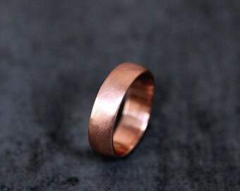 Rose Gold Men's Wedding Band, Thick Brushed 7mm Low Dome 14k Recycled Hand Carved Rose Gold Wedding Ring  - Made in Your Size
