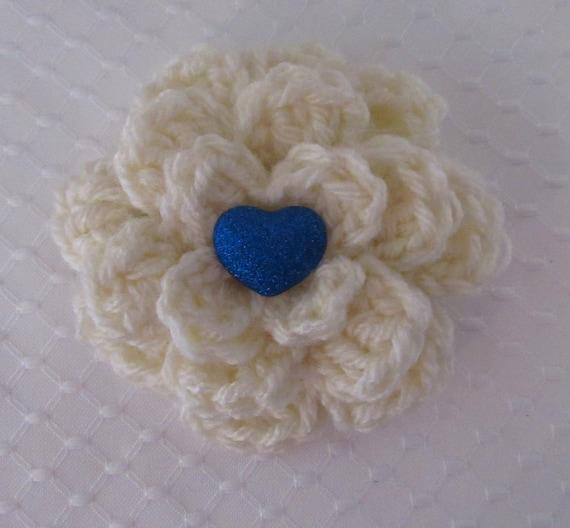 Ivory Flower Barrette, Crocheted Ivory Flower Barrette, Hair Clip, Hair Accessory, Blue Heart Barrette