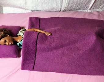 Purple Fleece pillow & blanket set for Fashion Dolls - bsb21