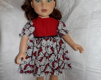 Cartoon Kitty print dress with red top & matching hair bow for 18 inch dolls - ag298