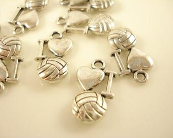 70 Love Basketball  Antiqued Silver Charms Pendant 12x9mm SB-545