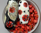 Murrini Chips, Sweethearts, COE 104, Lampwork Supplies, Enameling Supply, Milli, Murrine Slices, Emerald City Glass, Marcie Page
