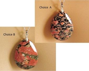 Agate Pendant, Agate Necklace, Natural Stone Jewelry, Orange Pendant, Black and Peach Gemstone, Orange Necklace, Black and Peach Necklace