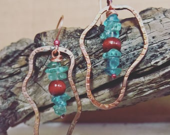 Freeform Copper Blue Apatite Stone Earrings with Dark brown wood round on Copper hooks art earrings blue and brown hammered copper design