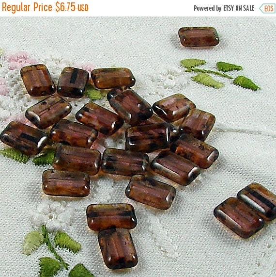 ON SALE Czech Glass Beads Amethyst Picasso 8x12mm- 25 Beads