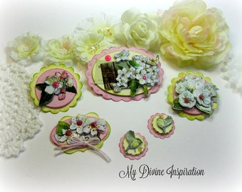 Chic Spring Pink Handmade Paper Flowers, Paper Embellishments for Scrapbooking Cards Mini Albums Tags Altered Art and Papercrafts