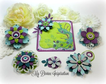 Bo Bunny Peacock Lane Scrapbook Embellishments, Paper Embellishments for Scrapbook Layouts Cards Mini Albums Tags and Papercrafts