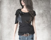 Black bow top/Short sleeve tee/Removable bow