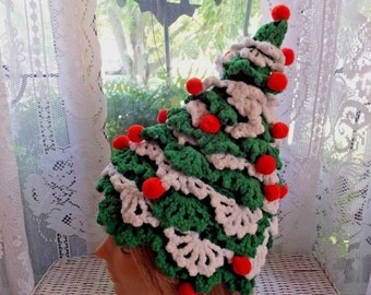 Vintage Hand Crochet Ugly Christmas Sweater Party Red Green White Pom Pom Tree Hat