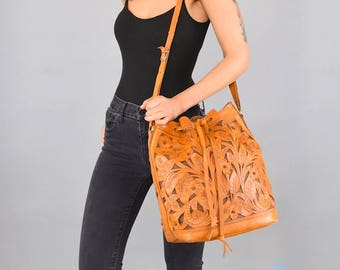 Mexican Leather Hand Tooled Bucket Bag