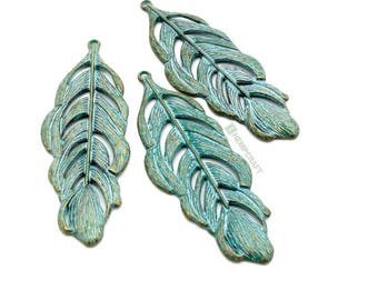 Large Feather Pendants, 3pc Patina Bronze Metal Feathers, 73x26mm