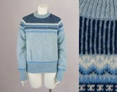 70s Vintage Blue Fair Isle Wool Crew Neck Sweater (M, L)
