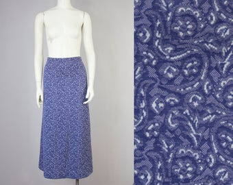 60s Vintage Purple Paisley Knit Stretch Flare Maxi Skirt (S)