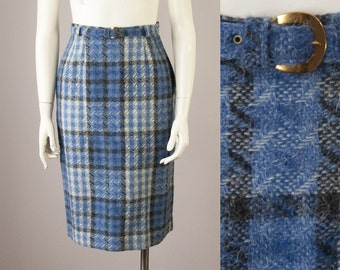 """50s Vintage Wool Plaid High-Waisted Belted Skirt (XS; 24"""" Waist)"""