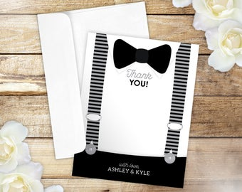 10 Bowtie Thank you Cards, Bow Tie Stationery, Suspenders Folded Thank you Cards for Baby Shower or Birthday