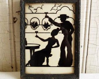 Vintage Framed Silhouette Picture - El Bolero - Western Spanish Scene - Black Wood Frame  - 1940s