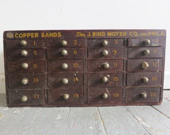 Antique Industrial Copper Band Storage Cabinet