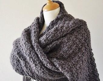 On Sale Oversized Scarf, Extra Wide Knit Scarf, Alpaca Knit Scarf, Oversized Brown Knit Scarf, Lenny Kravitz Scarf, Super Scarf, Blanket Sca