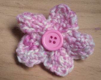 Pink Flower Brooch, Flower Pin, Knitted Brooch