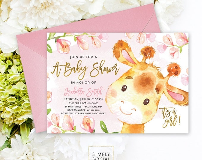 Giraffe Baby Shower Invitation - Floral Pink Boho April Giraffe It's A Girl Floral Baby Shower Invitation Watercolor Calligraphy Printable
