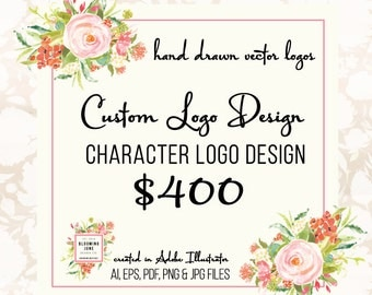 Custom Logo Design - Character Illustrated Logo Party Logo Photography Logo Graphic Design Bakery Logo Photographers Logo