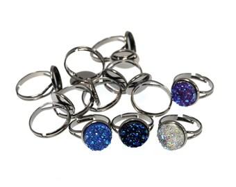 10PCS of 12mm Gunmetal Black Brass Ring Blanks, Ring Tray, Fully Adjustable Ring Blanks