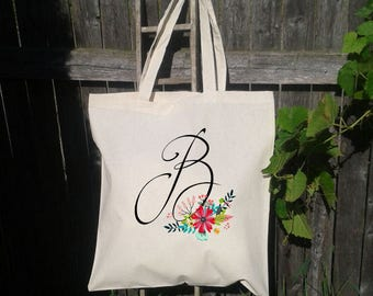 Bridesmaid Tote Bag, Monogram Tote Bag, Bridesmaid Wedding Welcome Tote Bag, Floral Wedding Tote Bag, Bridal Party Gift