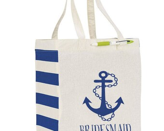 Beach Tote Bag, Wedding Welcome Tote,  Nautical Beach Wedding, Anchor, Bridesmaid Tote Bag