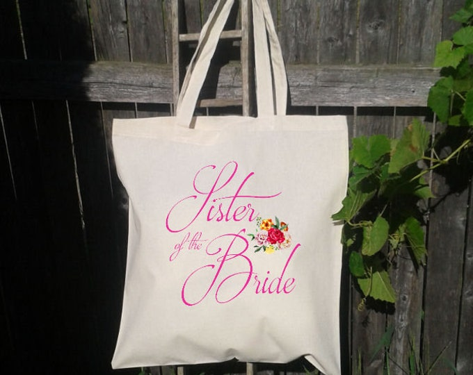 Sister of the Bride, Sister of the Groom Tote Bag, Wedding Welcome Tote Bag