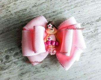 Multi Layered Little Brunette Ballerina Ballet Girl Pink Hair Bow Barrette Clip M2M Custom Boutique Polymer Clay