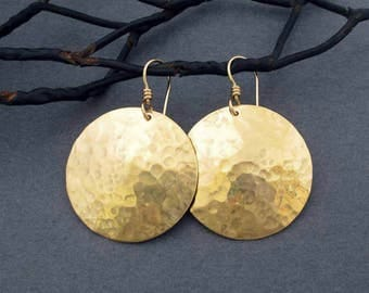 Hammered Gold Disc Earrings in Shiny Hammered Brass Dangles and 14k Gold Filled Ear Wire Round Dangles Artisan Handmade Modern Metal Jewelry